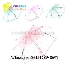 Ladies 3 Folding Transparent Umbrella Parasol Pink Flowers Pattern Umbrella