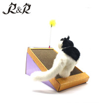 2018 New Model Folding Triangel Slope Cardboard Cat Scratch with Removable Cat Toy Teaser CS-2001