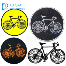 Free sample custom reflective jacquard label outdoor cycling mountain bike woven badge garment embroidered bicycle patches
