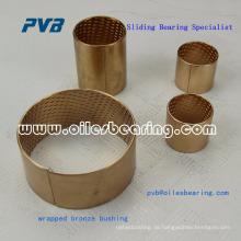 Gerolltes, bronzefarbenes, wartungsarmes Schmierlager auf Öl- oder Fettbasis