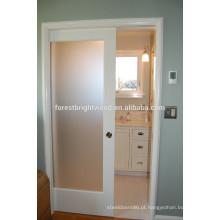 Geado Design de porta de bolso branca de vidro para banheiro
