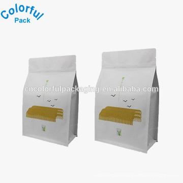 Custom colorful printing block bottom plastic bags for food