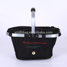 Grande Tamanho Da Família de Poliéster Duplas Dobrável Dobrável Basket Cooler Sacola Com Costurado No Quadro Para O Almoço, Piquenique