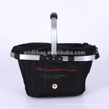 Large Family Size Polyester Insulated Folding Collapsible Basket Cooler Grocery Bag Tote With Sewn In Frame For Lunch, Picnic