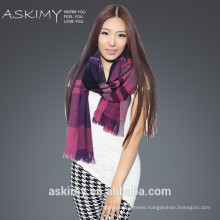 wholesale scarves factory Warm plaid twill pure wool shawls scarf