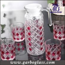 Verre décoratif, verre coloré, ensemble de verrerie, pot de verre 1PC avec 6PCS Glass Cup