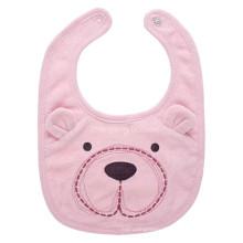 Promotional Customized Pink Cartoon Bear Cotton Towel Baby Bib