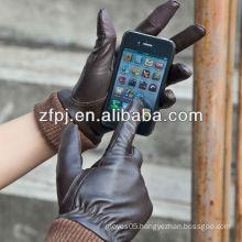 fashion sheepskin men smartphone gloves