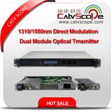 Fournisseur professionnel Transmetteur à laser optique à modulation directe modulable CATV Dual Module 1310 / 1550nm