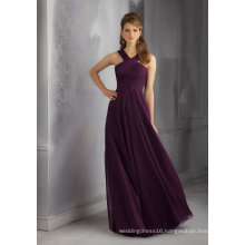 Purple Chiffon A Line Bridesmaid Dress