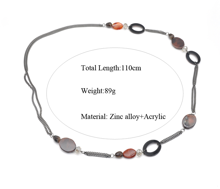 Classic long size resin beads and acrylic chain for girls and women stainless steel necklace wholesale