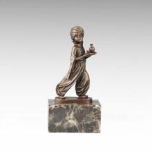 Kinder Figur Statue Arabische Kellner Junge Bronze Skulptur TPE-706