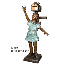Antique Playing Girl Bronze Mailbox Statue