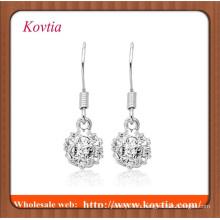 Mode fausse boucle de diamant boucle d'oreille boucle d'oreille en crochet fait main en crochet en argent
