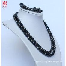 Fancy Black Real Pearl Necklace Bracelet Set (ES1319)