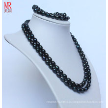 Fancy Black Real Pearl Necklace Bracelet Set (ES1319)