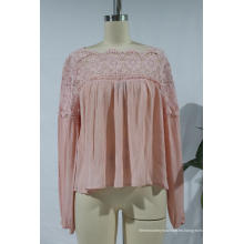 Blusa de mujer de manga larga con cuello de encaje