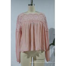 Женская блузка с длинным рукавом и кружевным воротником