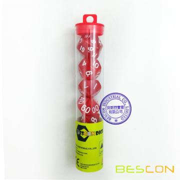 Bescon Mármol Red Colored RPG D & D Dice Juego de 7 más Tube Package
