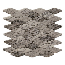 New Glass Mosaic Long Arabesque Recycled Grey Full Body Glass Mosaic Wall Tiles
