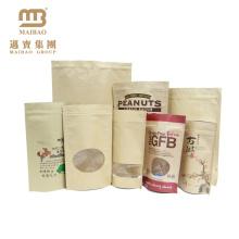 Custom Printing Food Grade Plastic Packaging Ziplock Stand Up Brown Kraft Paper Bag For Food