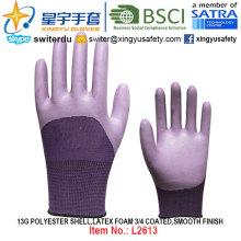 13G poliéster Shell espuma látex 3/4 recubierto, suave acabado guantes (L2613) con CE, En388, En420, guantes de trabajo