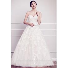 Vestido de noiva de moda Sweetheart Lace Appliqued Wedding Dress 2015 White Tulle Court Train Vestido De Noiva Longo
