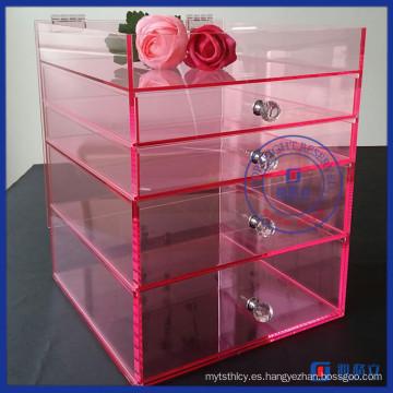 Yageli Baby Pink diseño de acrílico Maquillaje Organizador con el proveedor de la manija