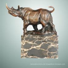 Tier Bronze Skulptur Nashorn Schnitzen Messing Statue Tpal-285