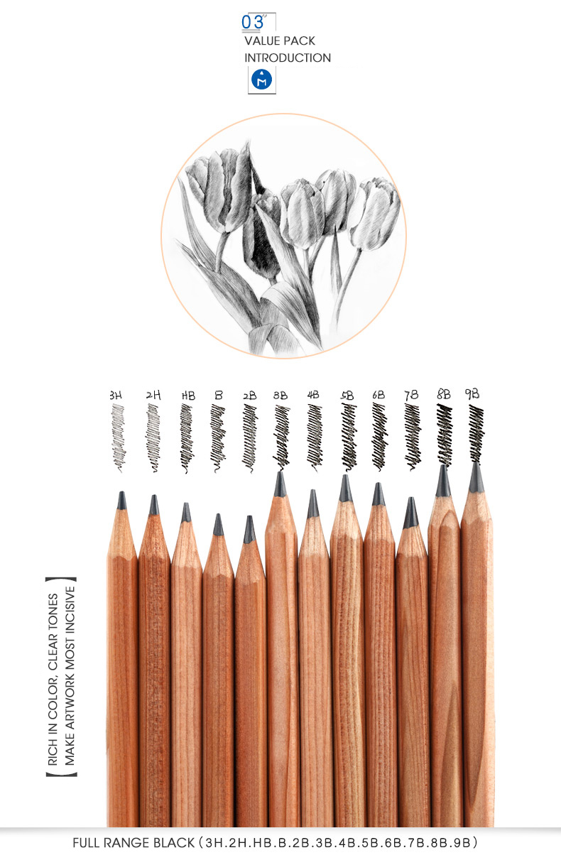 Andstal Andstal 21pcs Professional Sketch Drawing Value Pack Set with Black Pencils Charcoal Pencils art tool kit Graphite Pencils