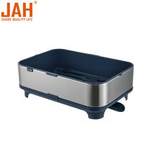 Стеллаж для посуды из нержавеющей стали с подвижным сливом JAH
