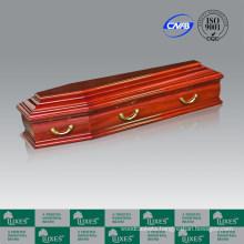 European style solid poplar wood funeral coffin