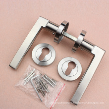 Stainless steel 304 lever on rose door handle with Threaded escucheon