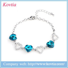 Горячие продажи щепка ювелирных любителей кронштейн сердце ссылку синий сапфир кристалл инкрустация браслет для женщин подарок на день рождения