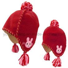Sombrero / Gorro polar del polo del cabrito del invierno con la bola que hace punto de las lanas
