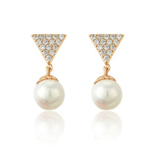 96068 Xuping New Fashion Lady 18K Gold Pearl Drop Earring Jewelry