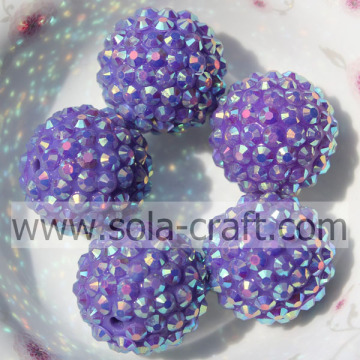 Factory Price 18*20MM Solid Purple AB Resin Rhinestone Round Beads