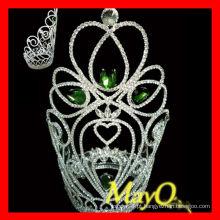 Coroa de tiara da grande representação da rainha da beleza de pedra verde grande