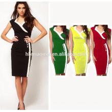Großhandelskleidungs-neuer Entwurfs-Art- und WeiseSommer-Frauen-langes Hülsen-beiläufiges Büro-Partei-Bleistift-Streifen-Midi-Kleid