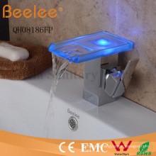 Brand New LED Self-Powered Glass Channel Waterfall Spout Single Blade Bar Bathroom Basin Tap Mixer Faucet