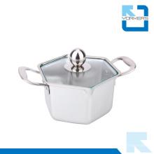 Hexagon Shape Aço Inoxidável Hot Pot & Stock Pot