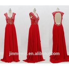 Red Evening Gown Sexy V-neck Cap Sleeve Chiffon Floor Length Beaded Open Back Evening Dresses Women