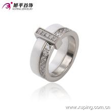 Nova moda jóias em aço inoxidável anel de dedo de cerâmica rodada para as mulheres -13740