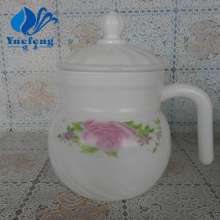 Opal Glass Spinning Tea Pot With Lid