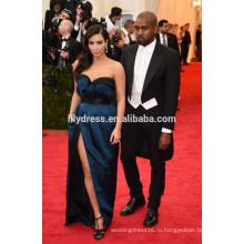 Темно-синий Длина пола атласная с плеча на заказ торжества Красный ковер платья KD005 высокое качество Ким Кардашян платья