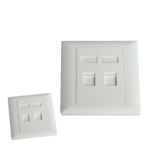 RJ45 2 port wall mount faceplate with shutter