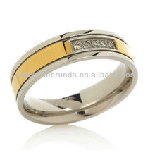 China Jewelry Wholesale CZ Ring Custom Stainless Steel Gold Fashion Rings Jewelry