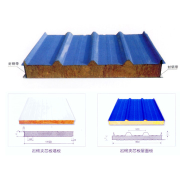 Rock Wool Sandwich Roofing Panel Material Building Fireproof