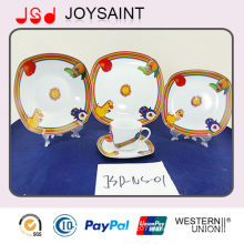 Cartón Decal Square 5PCS Cena Set Porcelain Plate