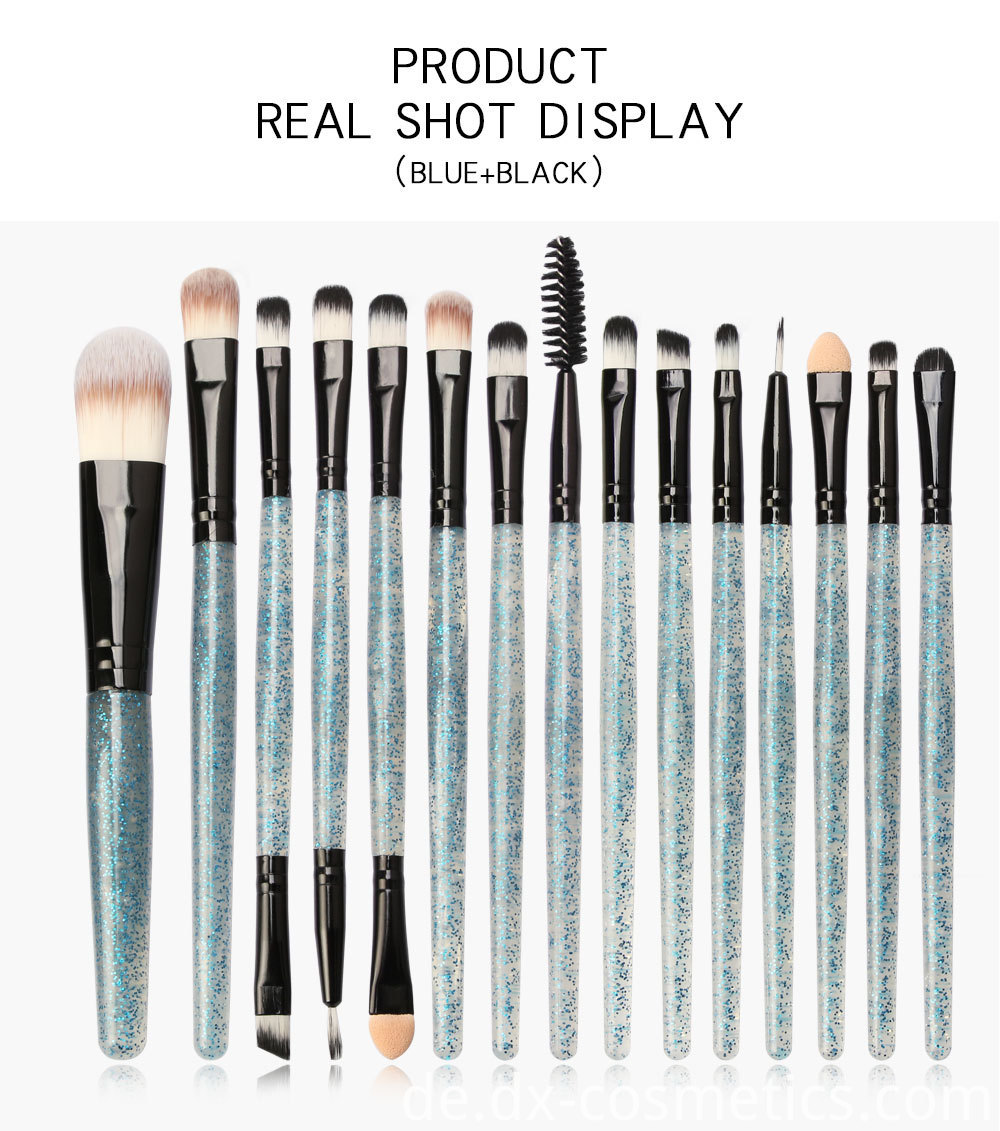 15 Pieces Crystal Travel Makeup Brushes Set 7-2